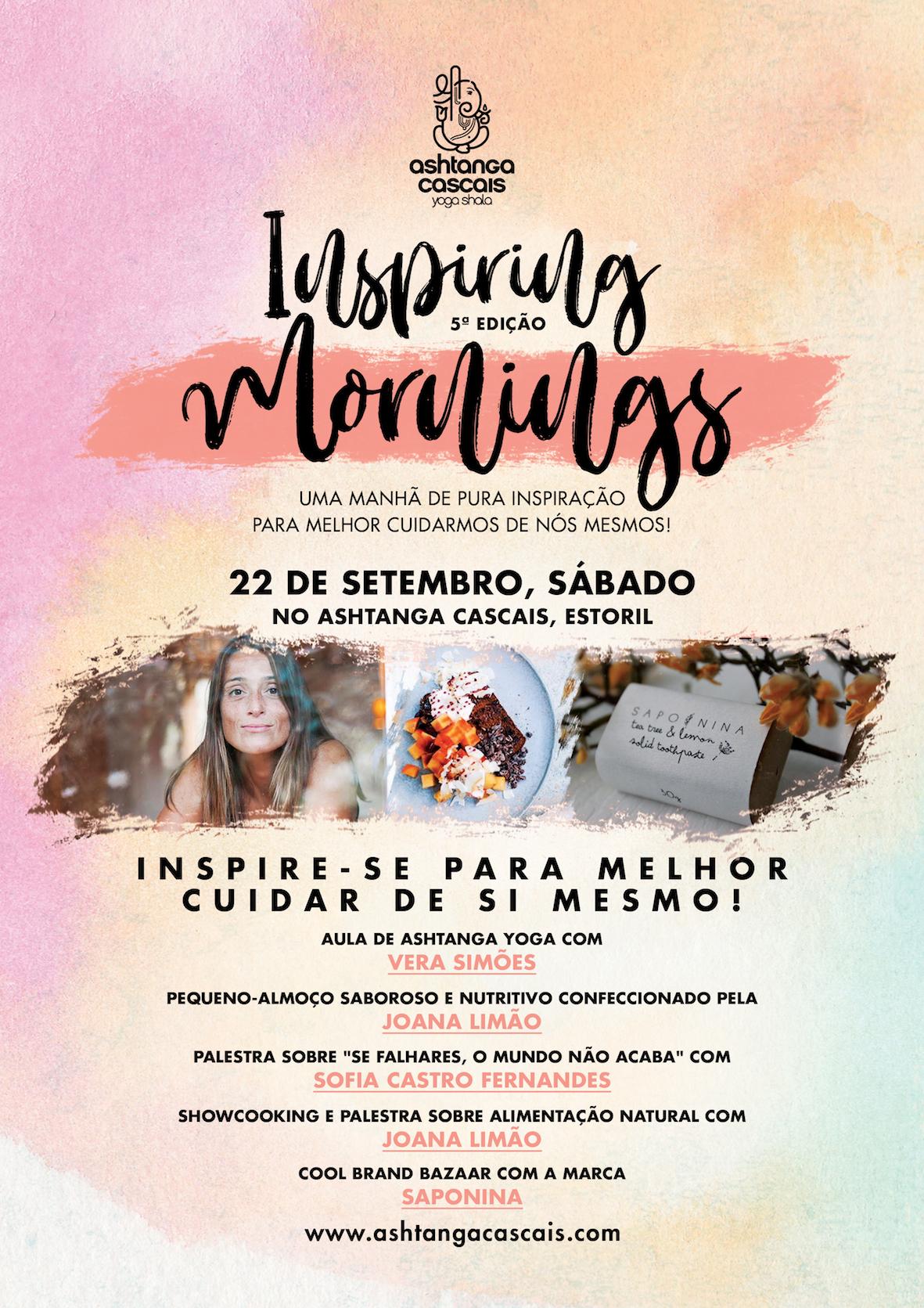 Inspiring Mornings, dia 22 de Setembro, no Ashtanga Cascais, Estoril