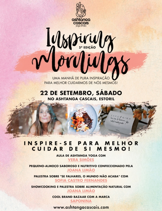 Inspiring Mornings, dia 22 de Setembro, no Ashtanga Cascais, Estoril