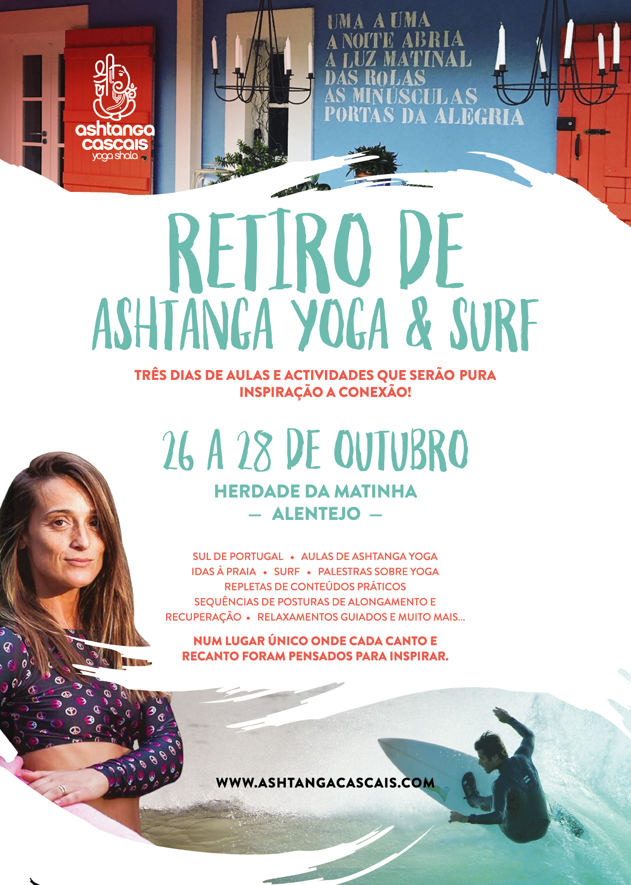Ashtanga Yoga & Surf Annual Retreat from October 26th to 28th, at Herdade da Matinha, Alentejo, South Portugal